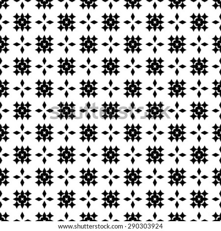 Vector seamless ethnic pattern with motifs in black and white colors. - stock vector