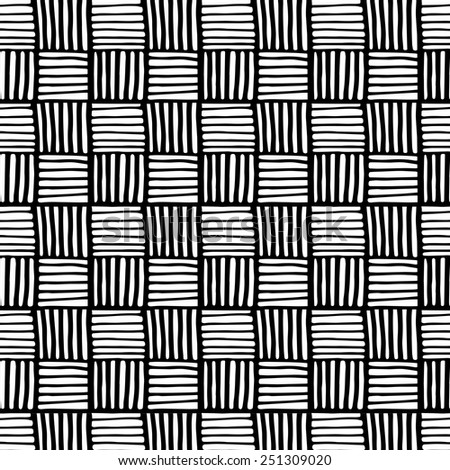 Vector seamless fabric pattern/ Decorative monochrome texture/ Abstract background - stock vector