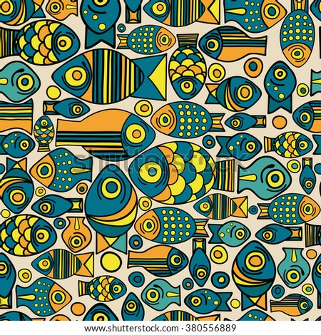 Vector Seamless Fish Pattern Repeating Background With Tropical And Bubbles Set Of
