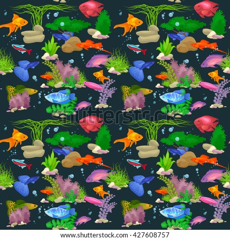 vector seamless fish swimming pattern under the sea, animal in the ocean water, underwater tropical fish life texture, aquarium graphic background