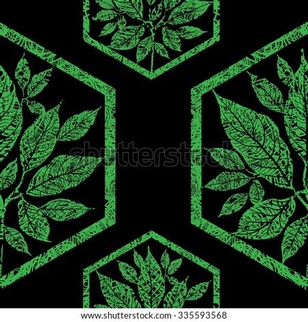 Vector seamless floral grunge pattern with tree leafs - stock vector