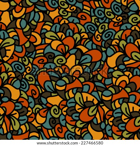 Vector seamless floral hand-drawn retro pattern. Vintage vector seamless pattern. Can be used for wallpaper, pattern fills, web page background, surface textures, prints. Gorgeous seamless background - stock vector