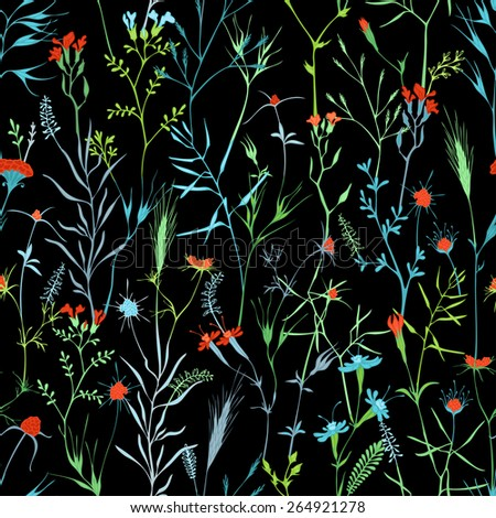 Vector seamless floral pattern. Bright natural background of flowers and grass. - stock vector