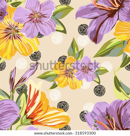 Vector Seamless Floral Pattern. Flower pattern with of violet and blue flowers on against the background of circles of hand-drawn ink. Background for your design project - stock vector