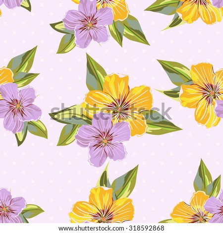 Vector Seamless Floral Pattern. Flower pattern with of violet and blue flowers on the background with dots. Background for your design projects - stock vector