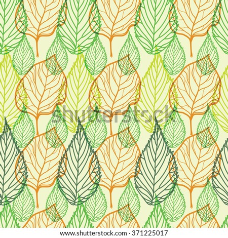 Vector seamless floral pattern, freehand drawing - leafs