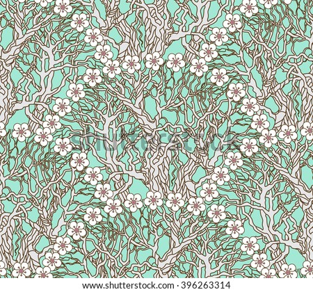 Vector seamless floral pattern from hand drawn fan shaped tree branches and white flowers on a light blue green background. Fish scale order. Spring garden wallpaper, wrapping paper, batik painting - stock vector