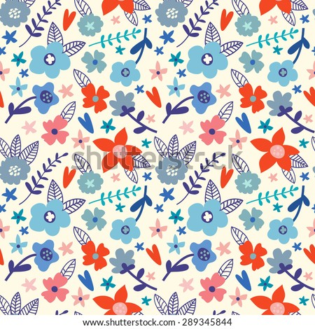 Vector seamless floral pattern in doodle style. Bright pattern with blue and red flowers, hearts and branches. Background for wallpaper, paper, greeting cards, invitations and tissues. - stock vector