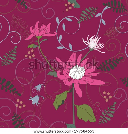Vector Seamless Floral Pattern in Magenta Endless Ethnic seamless pattern Vector backdrop Summer template Use for wallpaper, web background, pillow & interior decoration, wrapping paper, pattern fills