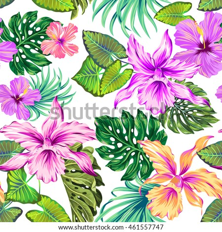 vector seamless floral pattern in romantic colors. Exotic orchids.
