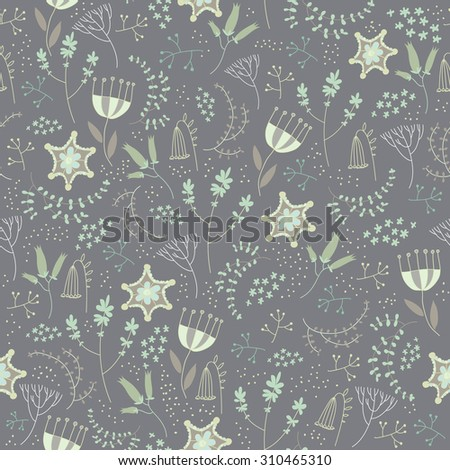 Vector seamless floral pattern. Romantic cute background with hand drawn flowers. Use as fabric, wrapping paper, decor, background of invitations, cards, etc. Pastel colors
