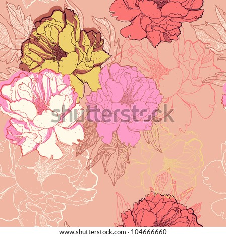 vector seamless floral  pattern with colorful blooming roses - stock vector