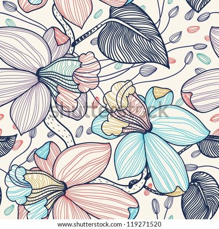 vector seamless floral pattern with fantasy blooming flowers - stock vector
