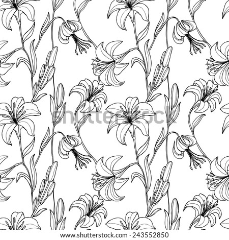 Vector seamless floral pattern with flowers. Wallpaper with lily, vector illustration - stock vector