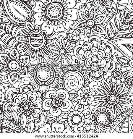 Vector seamless floral pattern with hand drawn fancy doodle flowers. Monochrome endless background.  - stock vector