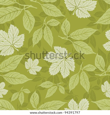 Vector seamless floral pattern with leafs