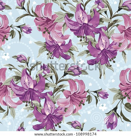 Vector seamless floral pattern with retro flowers. Wallpaper with lily on blue background, vector illustration - stock vector