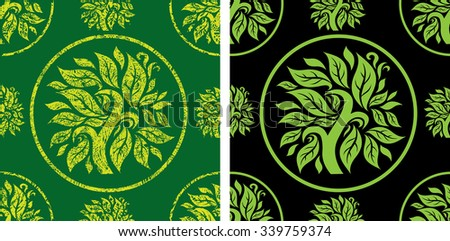 Vector seamless floral pattern with tree - stock vector