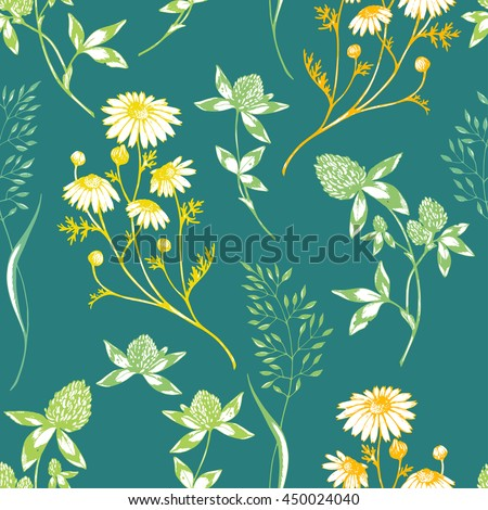 Vector seamless floral pattern with wild herbs and flowers. Colored on green.Hand drawn botanical herbal illustration in sketch style. For print, fabric, wallpaper, wrapping and other seamless design. - stock vector