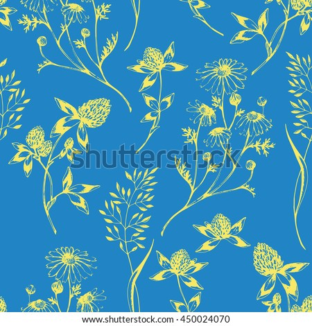 Vector seamless floral pattern with wild herbs and flowers. Yellow on blue. Hand drawn botanical herbal illustration in sketch style. For print, fabric, wallpaper, wrapping and other seamless design. - stock vector