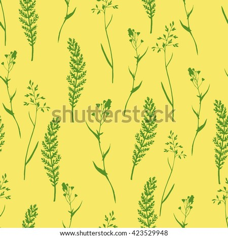 Vector seamless floral pattern with wild herbs and leaves. Green on yellow.  Hand drawn botanical illustration for print, wrapping, fabric, background and other seamless natural design. - stock vector