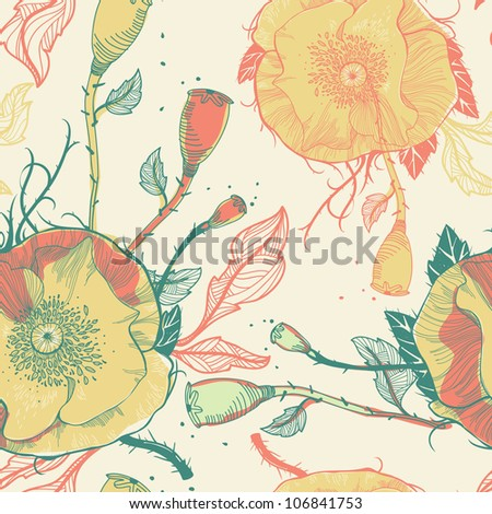 vector seamless floral pattern with yellow poppies