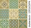 Vector seamless floral  patterns, fully editable eps10 file, seamless patterns in swatch menu, - stock vector