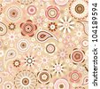 Vector seamless - flower delicate pattern with butterfly - stock photo