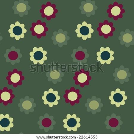 Vector seamless flower pattern - stock vector