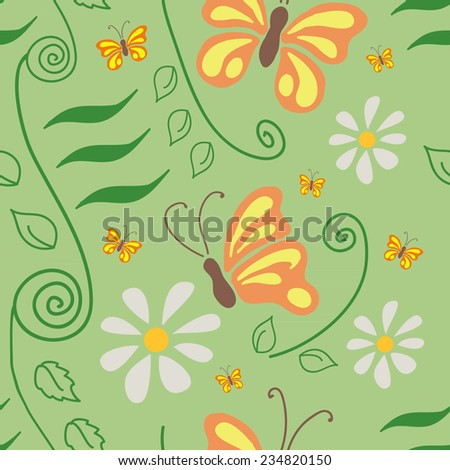 Vector seamless flower pattern background with butterflies