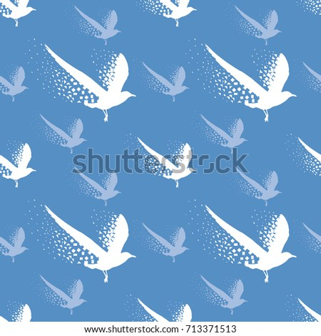 Vector seamless flying seagull birds on blue background