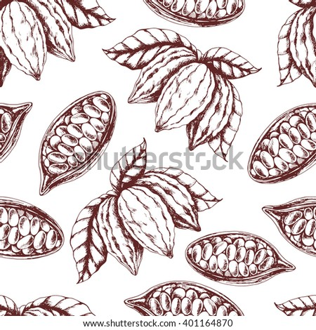 Vector seamless food background of  cocoa on beige . Ink drawn vector illustration in realistic style for prints, fabric, wrapping, backgrounds and other design.