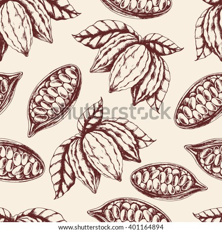 Vector seamless food pattern of  cocoa on beige. Ink drawn vector illustration in realistic style for prints, fabric, wrapping, backgrounds and other design.