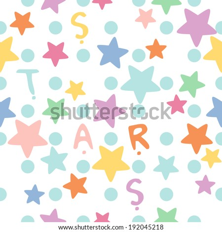 vector seamless funny childish colorful stars print - stock vector