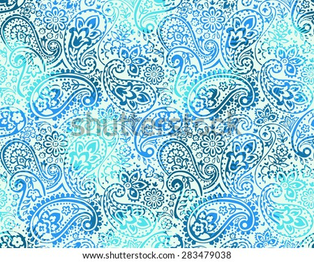 vector seamless gentle gradient paisley print with flowers and dots - stock vector