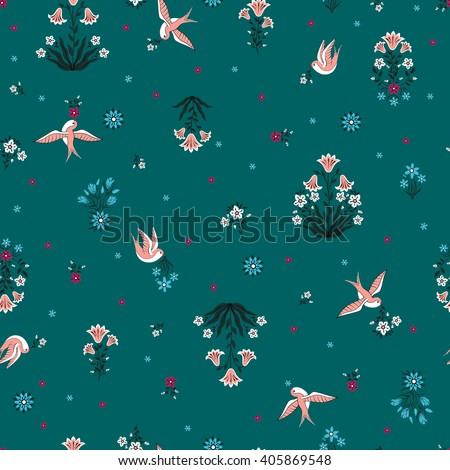 vector seamless gentle little flower pattern, little bouquets of flowers with stylized lily and cornflower, colorful floral background allover print