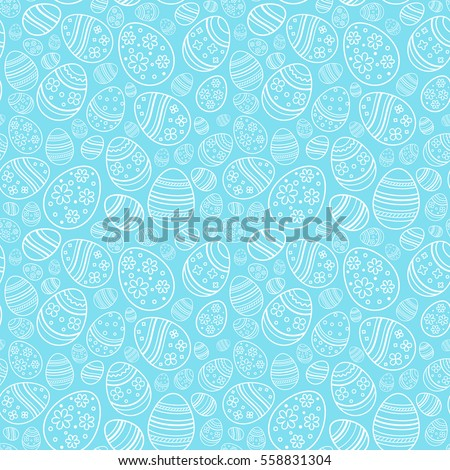Vector seamless gentle pattern with decorative eggs. Easter holiday blue background for website, printing on fabric, gift wrap and wallpapers
