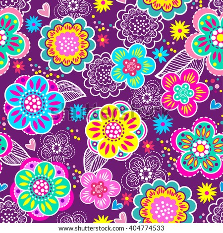 Vector seamless geometric cute pattern with flowers. Background for girls