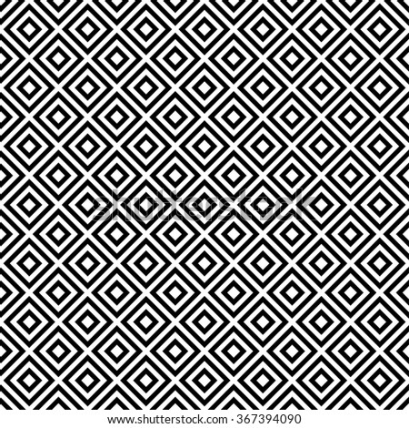 Vector seamless geometric pattern with black and white squares, monochrome background
