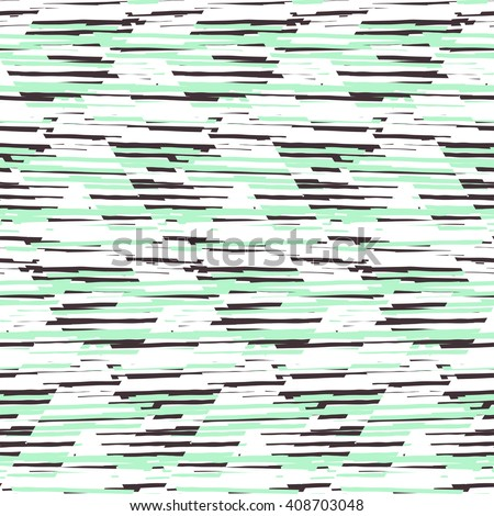 Vector seamless geometric pattern with striped triangle, abstract diagonal shape in pastel mint green color. Hand drawn background with overlap lines in 1980s fashion style. Modern funky textile print - stock vector