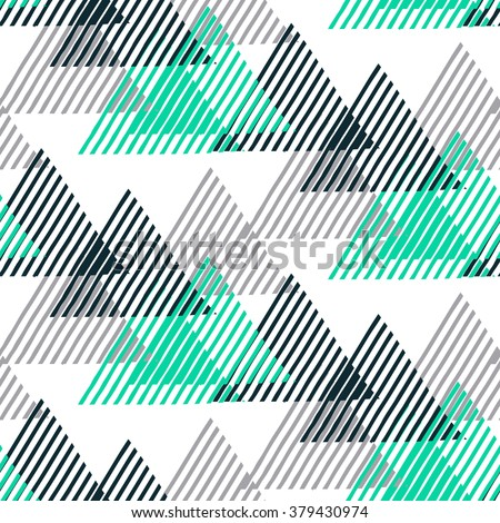 Vector seamless geometric pattern with striped triangles, abstract dynamic shapes in black white and mint green colors. Hand drawn background with lines in 1990s fashion style. Modern textile print.