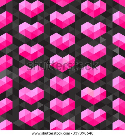 Vector Seamless Geometric Pink Hearts Shapes on Dark Triangle  Polygons Background Abstract Background - stock vector
