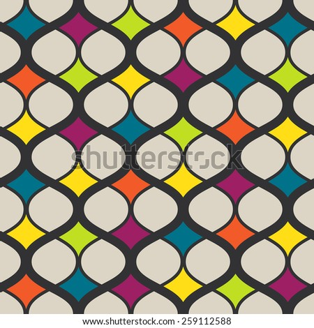 Vector seamless geometric retro pattern. Colorful Abstract background made with curved lines. - stock vector