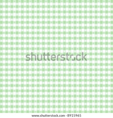 vector, Seamless Gingham Pattern in pastel green and white for sewing, decorating, backgrounds. EPS8 file includes pattern swatch that seamlessly fills any shape. - stock vector