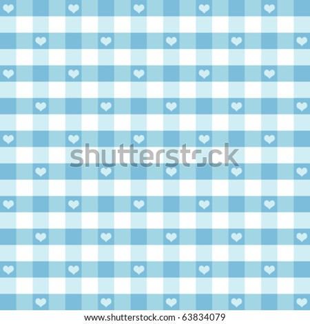vector - Seamless Gingham Pattern with hearts, pastel aqua & white for baby albums, scrapbooks, arts, crafts, fabrics. EPS8 compatible file includes pattern swatch that will seamlessly fill any shape. - stock vector