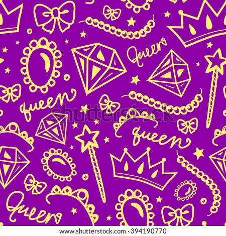 vector seamless girly pattern of jewelry and decorations in purple and yellow colors