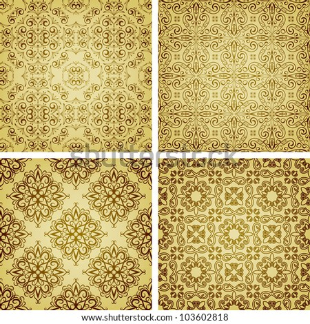 vector seamless golden patterns, oriental style, can be used as patterns, wrapping paper