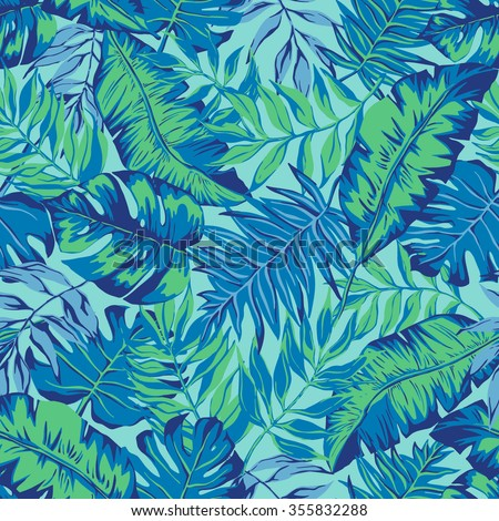 vector seamless graphical artistic hand drawn topical pattern, tropics, philodendron, palm leaf, banana leaf, fern frond, decorative, colorful, spring summer time, nature, original, fashionable - stock vector