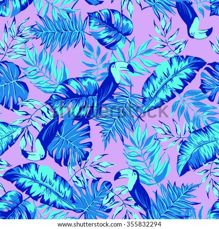 vector seamless graphical artistic hand drawn topical pattern, tropics, philodendron, palm leaf, banana leaf, fern frond, decorative, colorful, summer time, nature, original, fashionable, toucan - stock vector