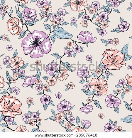 vector seamless graphical free hand drawing magnolia flower pattern with leaves. in bloom. summer time. gentle, romantic. - stock vector